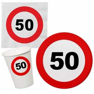 Verjaardag feestartikelen tafel dekken set 50 jaar verkeersbord