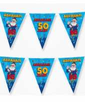 2x 50 abraham party vlaggenlijnen cartoon 10 m verjaadag versiering