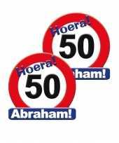 2x stuks huldeschild stopbord abraham 50 jaar versiering