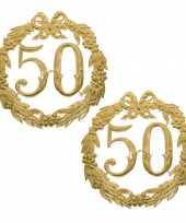 2x stuks ophang jubileum cijfer 50 jaar van 24 cm