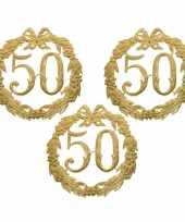 3x stuks ophang jubileum cijfer 50 jaar van 24 cm