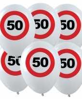 48x leeftijd verjaardag ballonnen met 50 jaar stopbord opdruk 28 cm