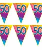 4x stuks verjaardag thema 50 jaar geworden feest vlaggenlijn van 5 meter