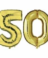 50 jaar gouden folie ballonnen 88 cm leeftijd cijfer