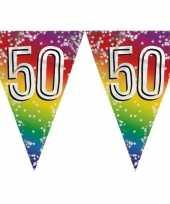 6x stuks vlaggenlijn 50 jaar versiering vlaggetjes slinger 6 meter