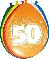 8x stuks ballonnen versiering 50 jaar thema feestartikelen