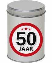 Cadeau kado zilver rond blik 50 jaar 13 cm