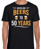 Cheers and beers 50 jaar verjaardag cadeau t shirt zwart voor heren