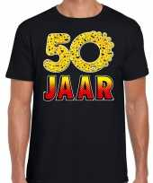 Funny emoticon t shirt 50 jaar abraham zwart heren