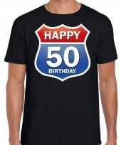 Happy birthday 50 jaar abraham verjaardag t shirt route bordje zwart voor heren