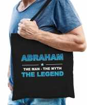 Naam cadeau tas abraham the legend zwart voor heren