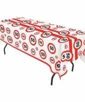 Plastic verkeersborden tafelkleed 50 jaar