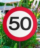 Set van 3x stuks tuinborden versiering 50 jaar feest thema 44 cm