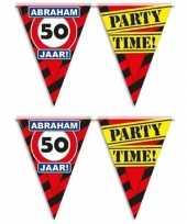 Set van 4x stuks abraham 50 jaar vlaggenlijnen waarschuwingsborden