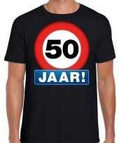 Stopbord 50 jaar abraham verjaardag t-shirt zwart voor heren