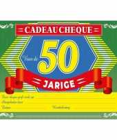 Verjaardag cadeau cheque abraham 50 jaar a4 formaat