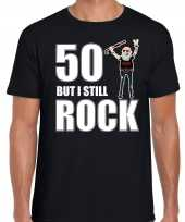 Verjaardag cadeau t-shirt abraham 50 but i still rock zwart voor heren