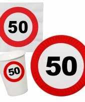Verjaardag feestartikelen tafel dekken set 50 jaar verkeersbord 10266982